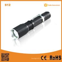 S12 luz de mão ao ar livre 18650 bateria LED lanterna recarregável