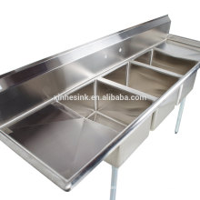 3 Three Bowl Commercial Stainless Steel Compartment Sink