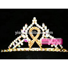 Lindos acessórios de headpiece ouro cristal fita arco nó tiara