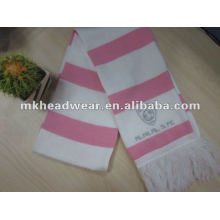 Lady machine knitted stripe football scarf in pink and white color
