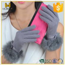 Womens Touch Screen Handschuhe mit Kaninchen Pelz Damen benutzerdefinierte Wolle Handschuhe