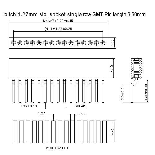 MFHCM-XXXX01 pitch 1.27mm sip socket single row SMT pin length 8.80mm