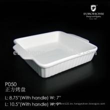 P050 Plato directo de la fábrica de la inmersión de la porcelana de la fábrica, plato de las tapas de cerámica, plato del bocado, plato de la inmersión, plato del bisque, bandeja de hornada