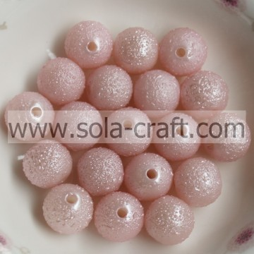 Plastic Sparking Light Pink Round Opaque Beads Manufacturer For Craft Making 8MM