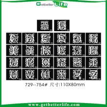 26 letras de diseño reutilizable brillo tatuaje plantilla