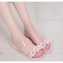 Chaussures en cristal / gelée en PVC pour dames avec des fleurs d'Exqusite