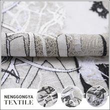 Designer belle super maille poly brodé dentelle tissu en gros