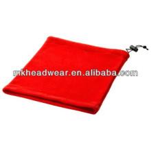 red cheap polar fleece hooded scarf