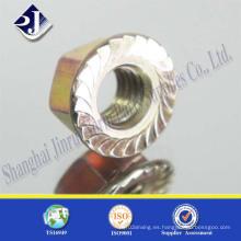 Tuerca de brida hexagonal con cierre de acero DIN6923