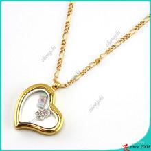 Moda dobrado colar de pingente medalhão coração de ouro (fl16040835)
