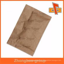 Flexibel embalagem papel kraft marrom dobrado saco de açúcar bruto para chá ou café instantâneo