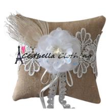 Casamento de elegância de moda Almofada de aluguel de anel branco com rendas de bordado Casamento de noiva de flores favorita decoração