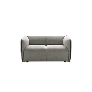 Compact Contemporary Grey Fabric Contract Double Sofa