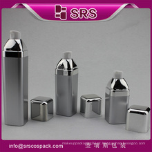 30ml 50ml prata cor forma quadrada plástico airless loção bomba garrafa