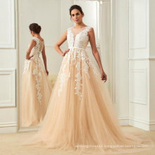 Lace Appliqued Champagne Bridal Gowns Elegant Long Outdoor Wedding Dresses