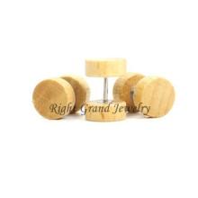 Vendedor superior variedade madeira corpo jóias 10mm personalizado plugues falso