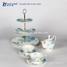 Weißes einfaches Design-Kaffee-Set Blumenmuster Knochen Porzellan Low-Tee-Set