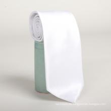 Corbata blanca del grosgrain del poliéster para hombre barata al por mayor del chino