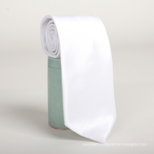 Wholesale Chinese Cheap Mens Polyester Grosgrain White Necktie