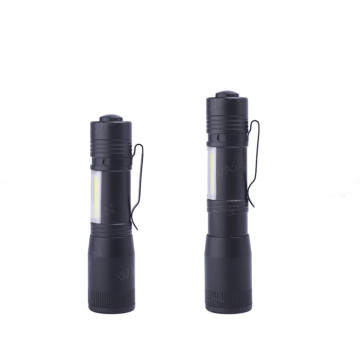 Compact Mini Zoom AA Pocket Clip Flashlight