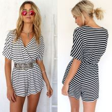 Mulheres Stripe Clubwear V Pescoço Playsuit Bodycon Partido Jumpsuit