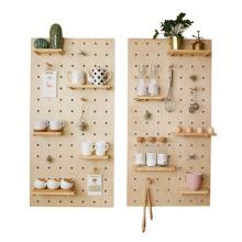 Wholesale custom wooden storage wall shelf with hole