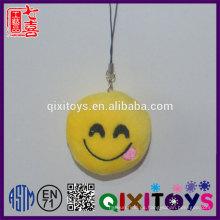 Creativo personalizado llavero emoji logotipo personalizado expresión sonrisa llavero mini peluche juguetes de peluche decoración
