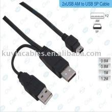 USB Festplatte Festplatte Gehäuse Stecker auf Mini 5-Pin Y Kabel