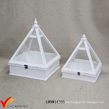 Retro White Design Indoor Decor Wood Mini Greenhouse