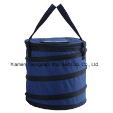 Promotional Navy Blue 600d Polyester Collapsible Insulated Cool Bag