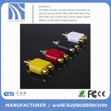 Connecteur d'adaptateur femelle RCA mâle à 2RCA Y-Splitter Plug Extender Converter