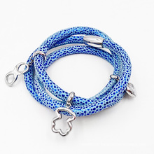 Manufacturer Directly Sting Ray Leather Bracelet with Charms