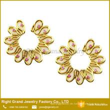 Nicht Pierce Vergoldete Blume Rosa CZ Schild Gefälschte Nippel Ring