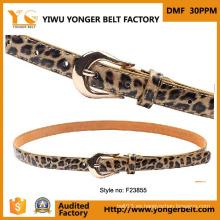 Formal excelente calidad amarillo hebilla automática Skinny cinturón de cuero
