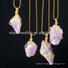 golden chain necklace accessories for women druzy natural stone pendant necklace