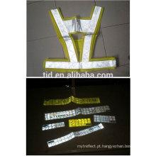 Fita amarela fluorescente de alto brilho para vestuário de segurança
