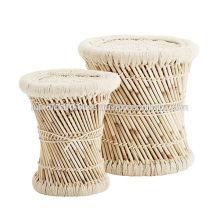 Ensemble rond en bambou de 2 tabourets