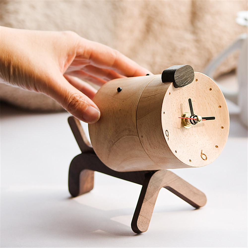 dog shape wooden clock