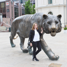 fundição jardim animal decoração em tamanho real bronze tigre estátua