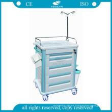 AG-ET012B1 Con cinco cajones de carro de plástico médico del hospital
