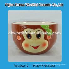 Tazón de cerámica multicolor en forma de mono para ventas directas de fábrica