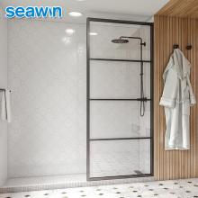 Seawin Modern Bathroom Matte Black Frame Glass Fix Panel Door Shower