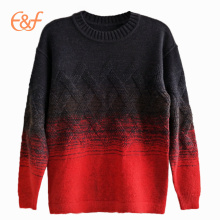 Hombres Gradient Color Cable Heavy Gauge Winter Sweater