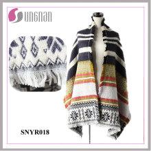 La última borla elegante del copo de nieve del telar jacquar de las señoras 2015 imita la bufanda de la cachemira