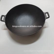 Gusseisen Chinses Wok-Kochgeschirr vorgewürzte Beschichtung für die Küche