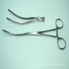 Pinça Intestinal Curvada Cirúrgica de Aço Inoxidável