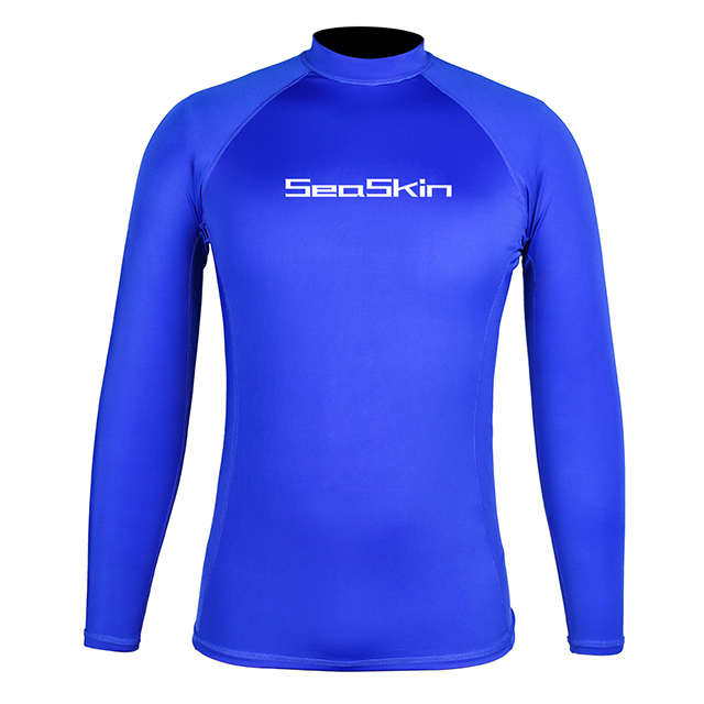 Seaskin Mens LS Surf Rashguard Blue