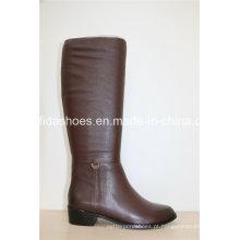 Novas botas de moda em couro de inverno para senhoras