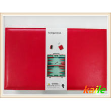 Red leather backgammon
