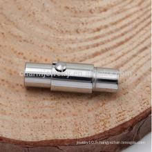 BXG001 Fermoir en fer magnétique en acier inoxydable Fermeture intégrale avec mécanisme de verrouillage - Adapté 2/3/4/5/6 mm Cordon en cuir
